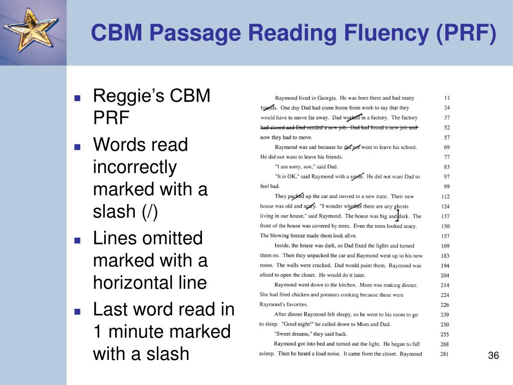 CBM Passage Reading Fluency (PRF)