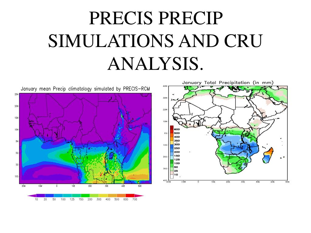 PRECIS PRECIP SIMULATIONS AND CRU ANALYSIS.