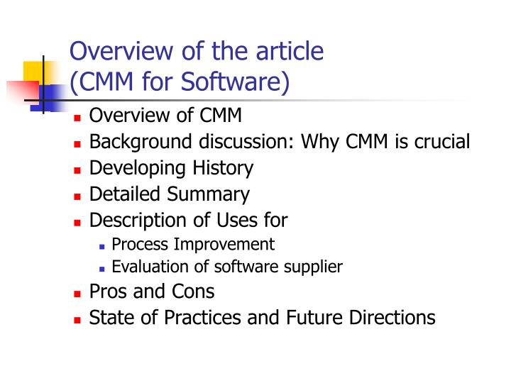 Overview of the article cmm for software