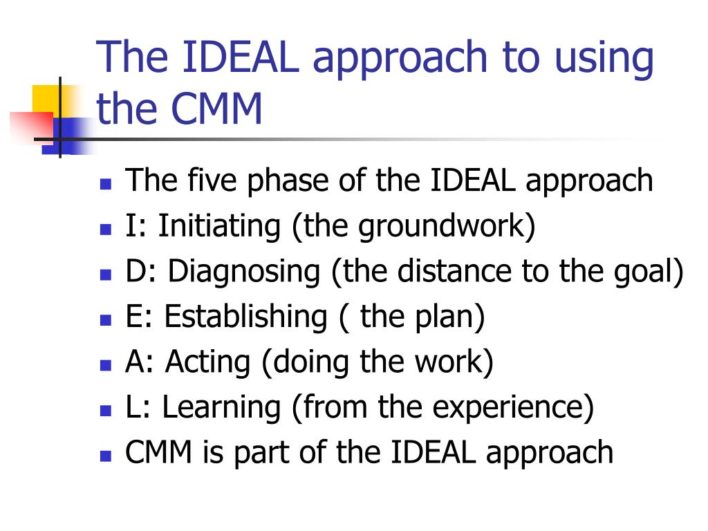 The IDEAL approach to using the CMM