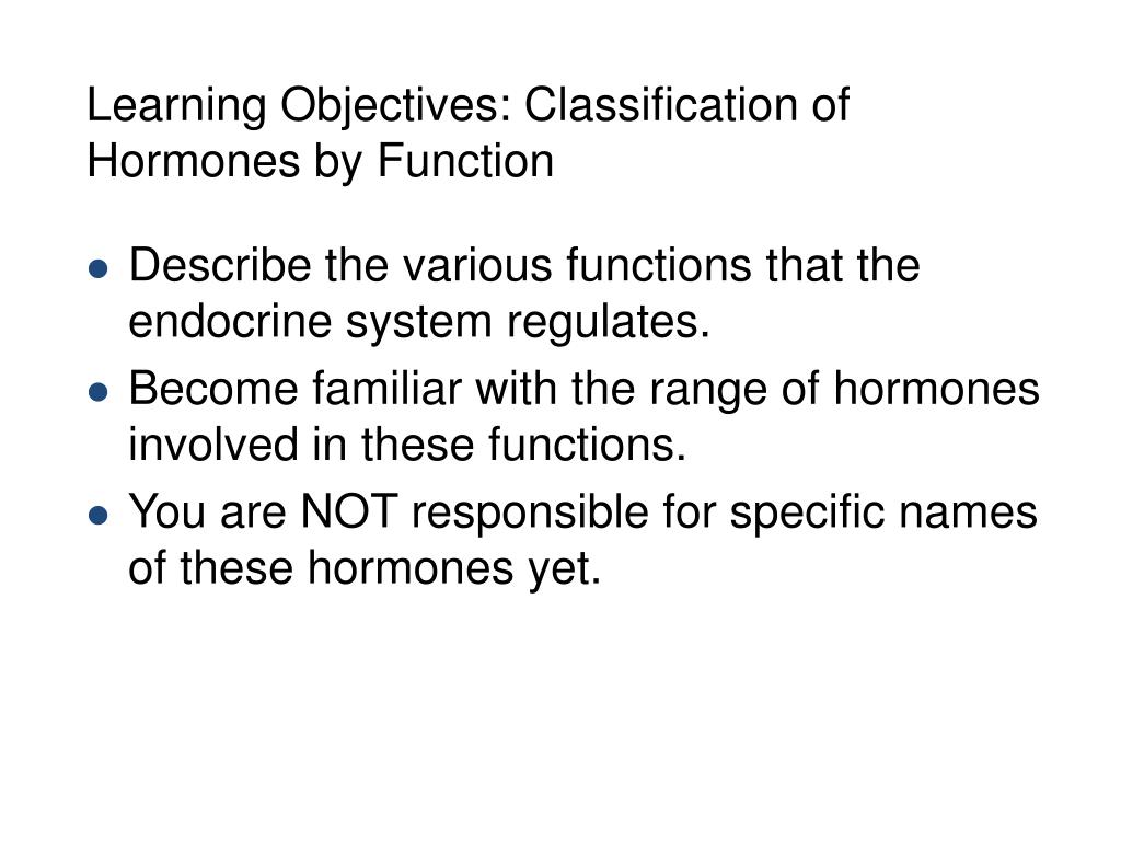 Learning Objectives: Classification of Hormones by Function