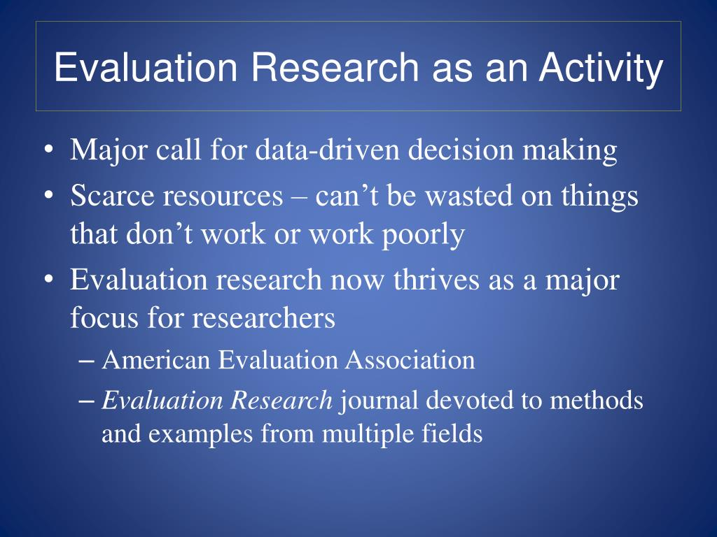 Evaluation Research as an Activity
