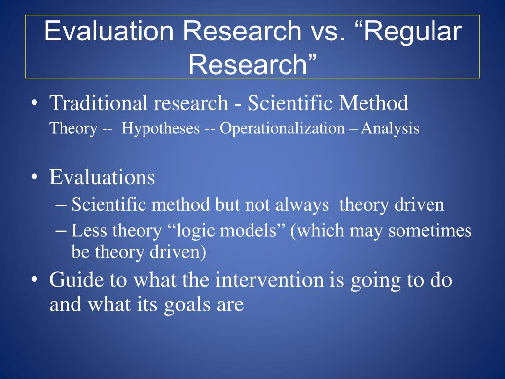 "Evaluation Research vs. ""Regular Research"""