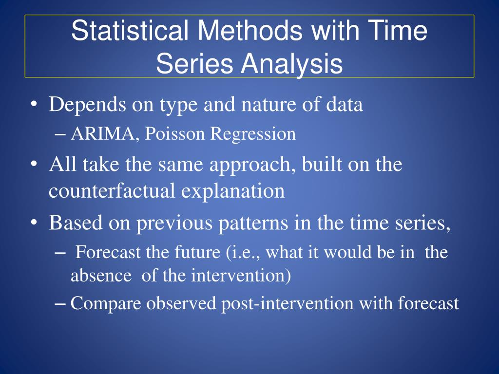 Statistical Methods with Time Series Analysis