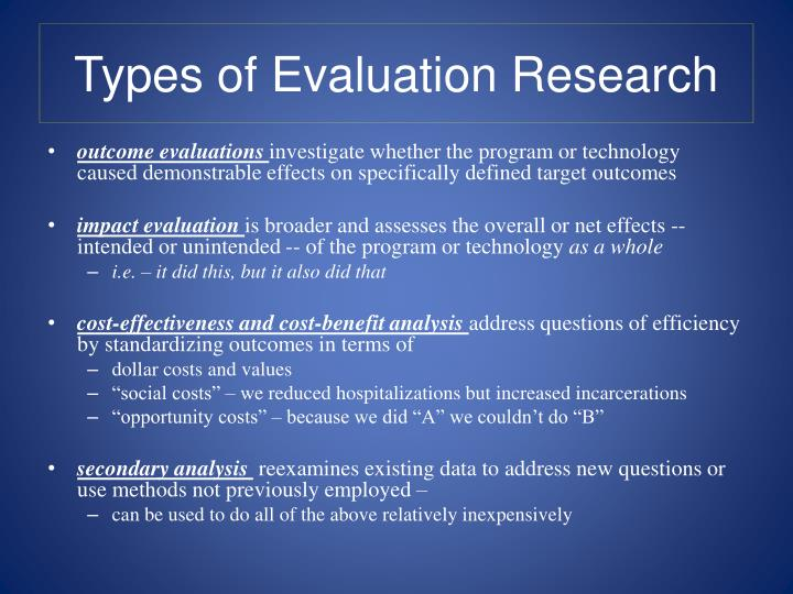 Types of evaluation research