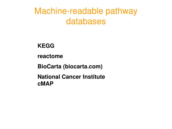 Machine-readable pathway databases