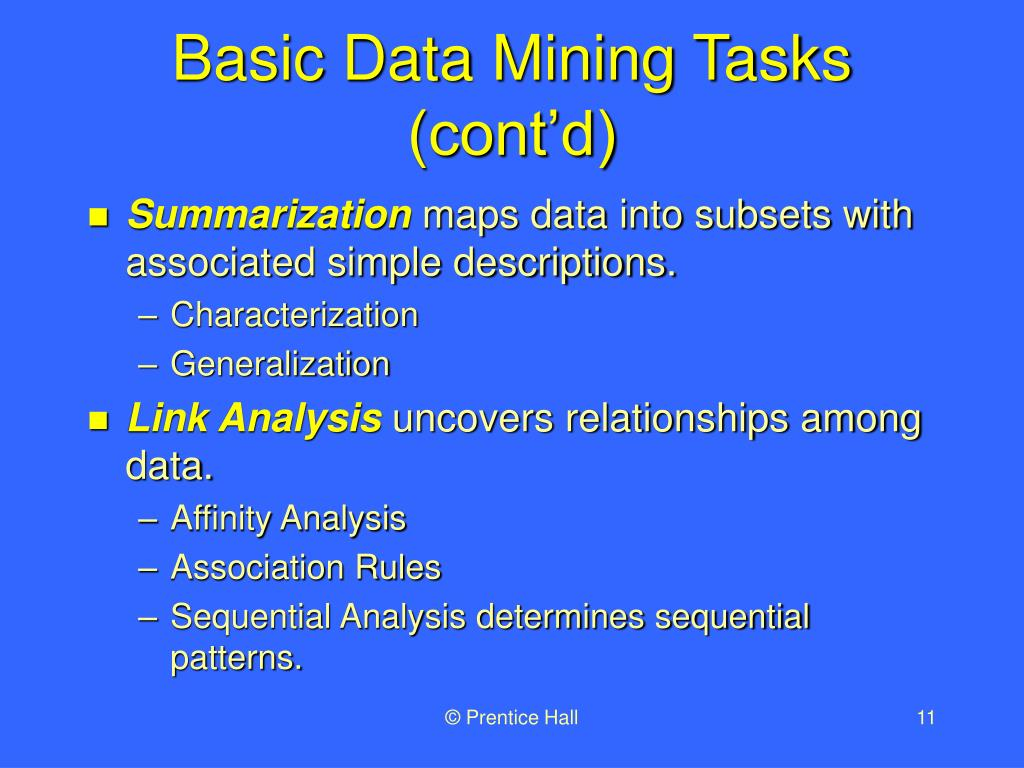 Basic Data Mining Tasks (cont'd)