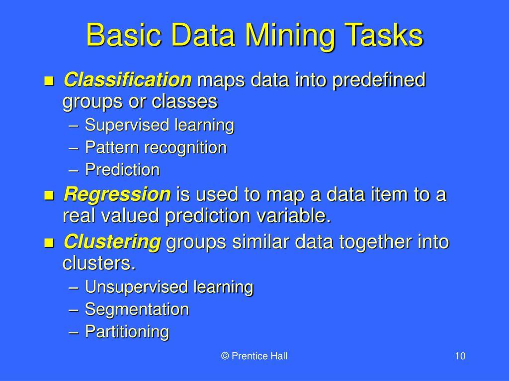 Basic Data Mining Tasks