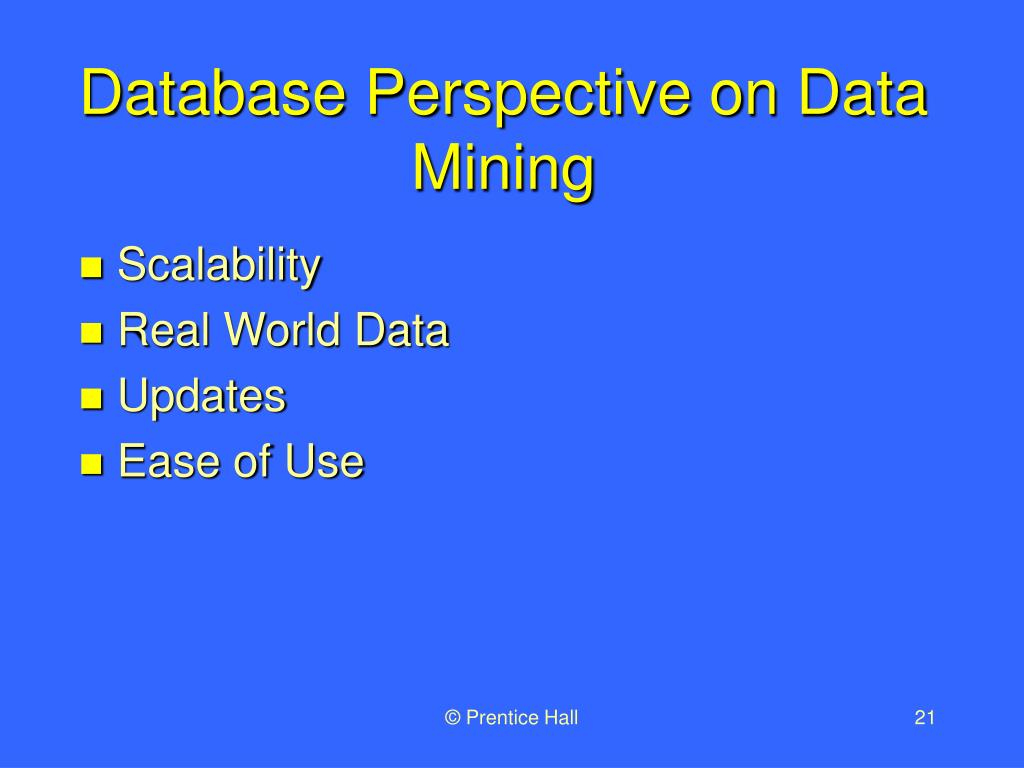 Database Perspective on Data Mining