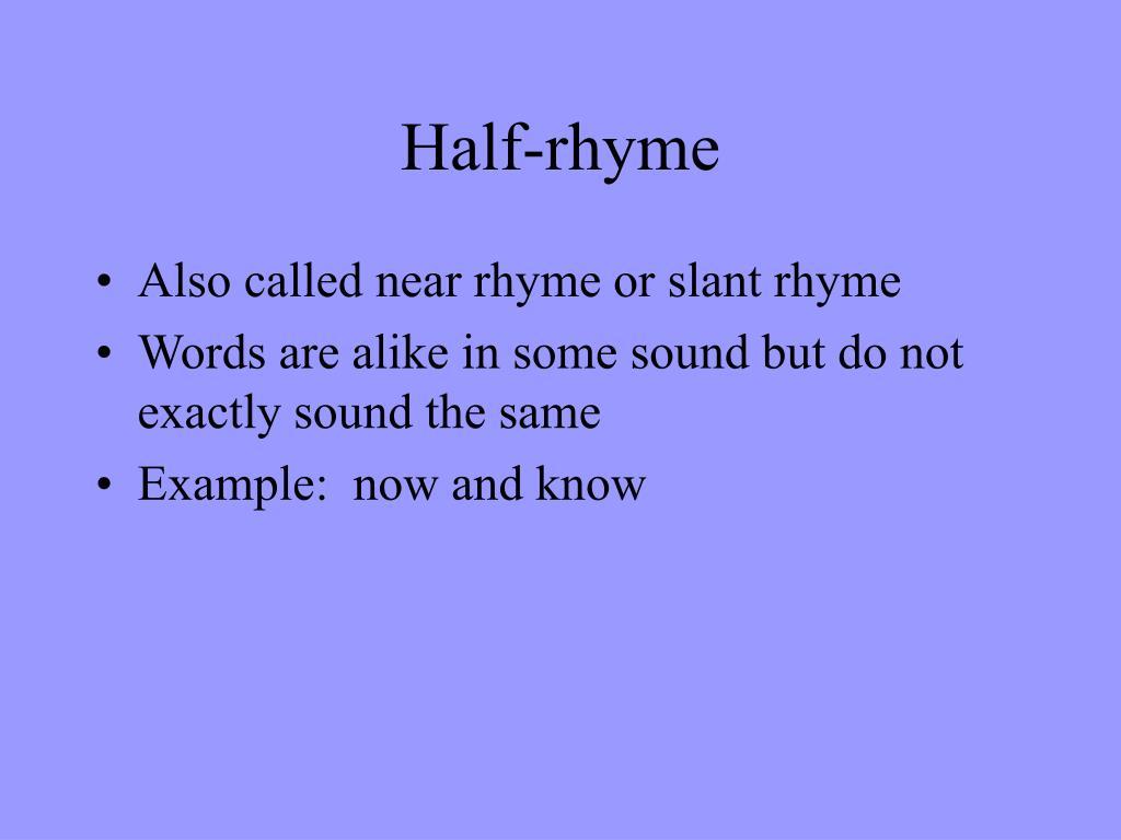 Half-rhyme
