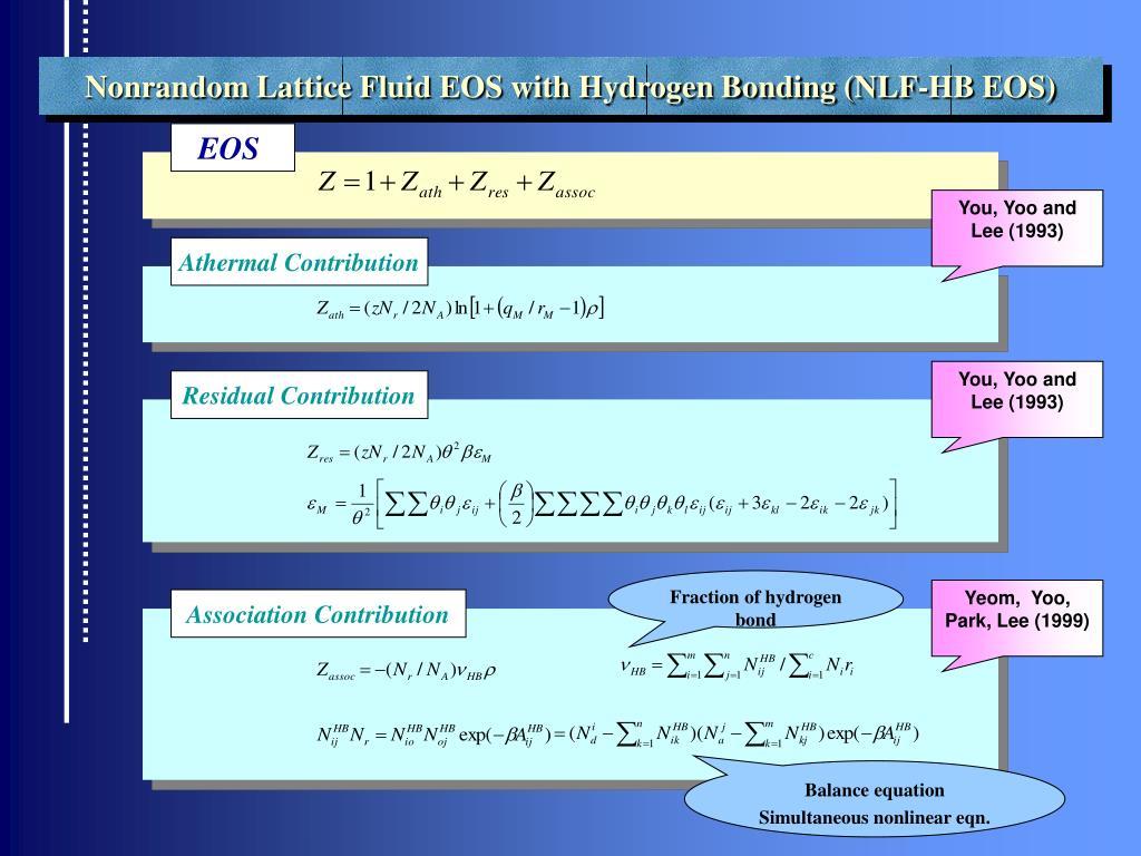 Nonrandom Lattice Fluid EOS with Hydrogen Bonding (NLF-HB EOS)