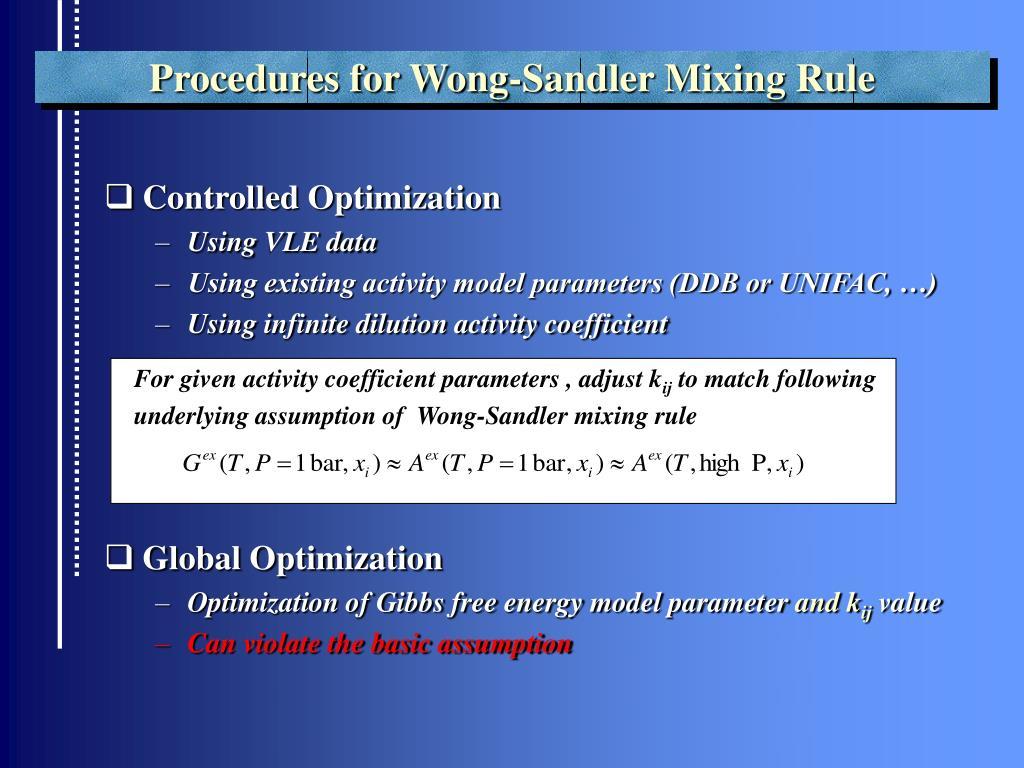 Procedures for Wong-Sandler Mixing Rule
