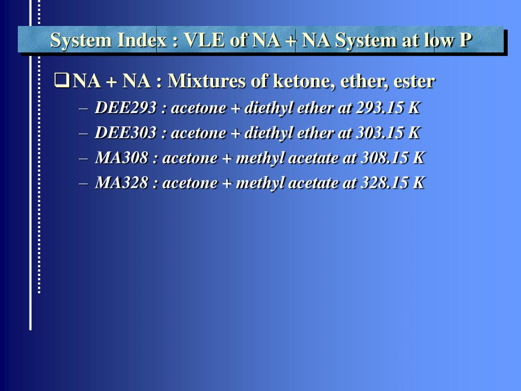 System Index : VLE of NA + NA System at low P
