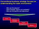 conventional business strategy focuses on understanding the static environment