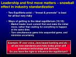 leadership and first move matters snowball effect in industry standardization