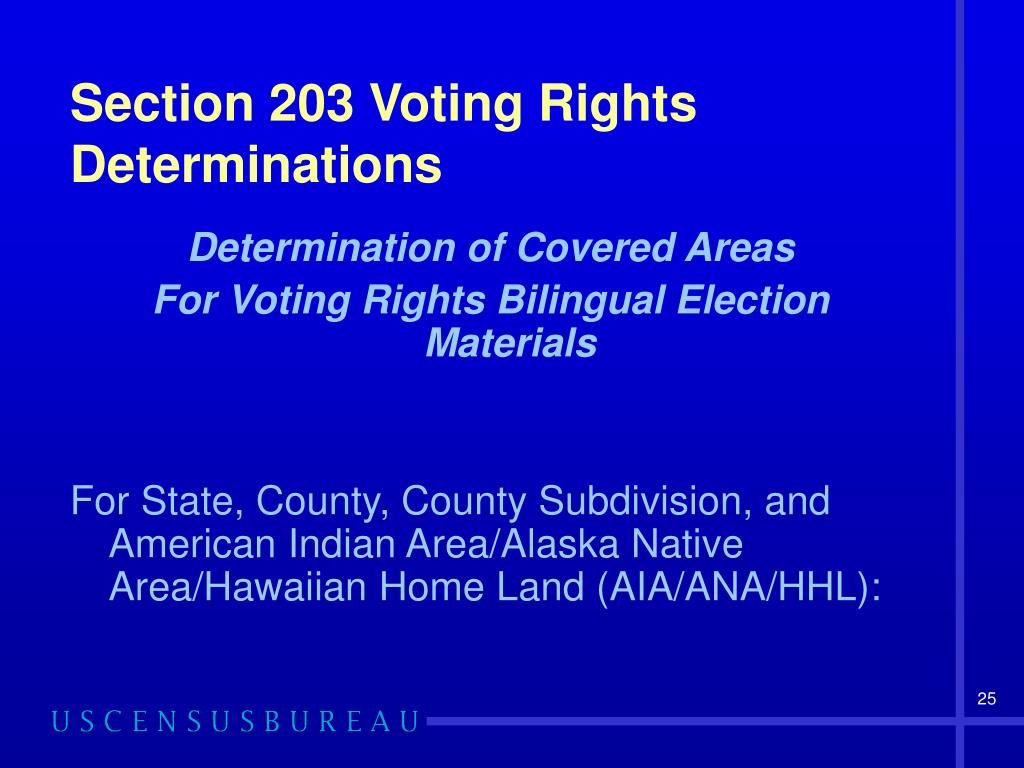 Section 203 Voting Rights Determinations