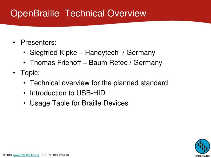 Openbraille technical overview