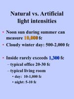 natural vs artificial light intensities