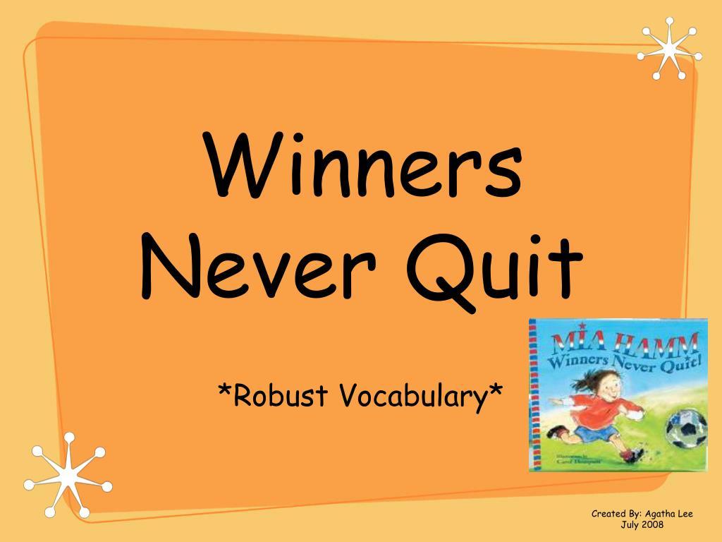 winners never quit l.