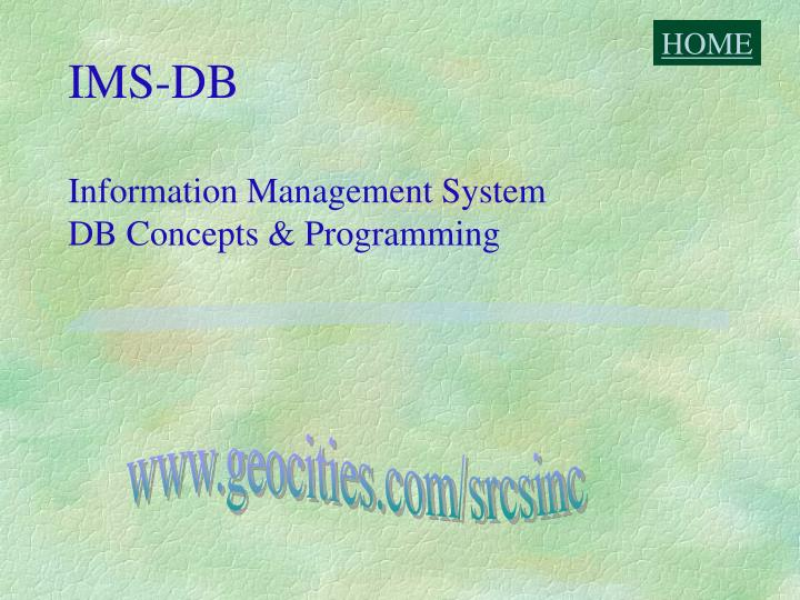 Ims db information management system db concepts programming