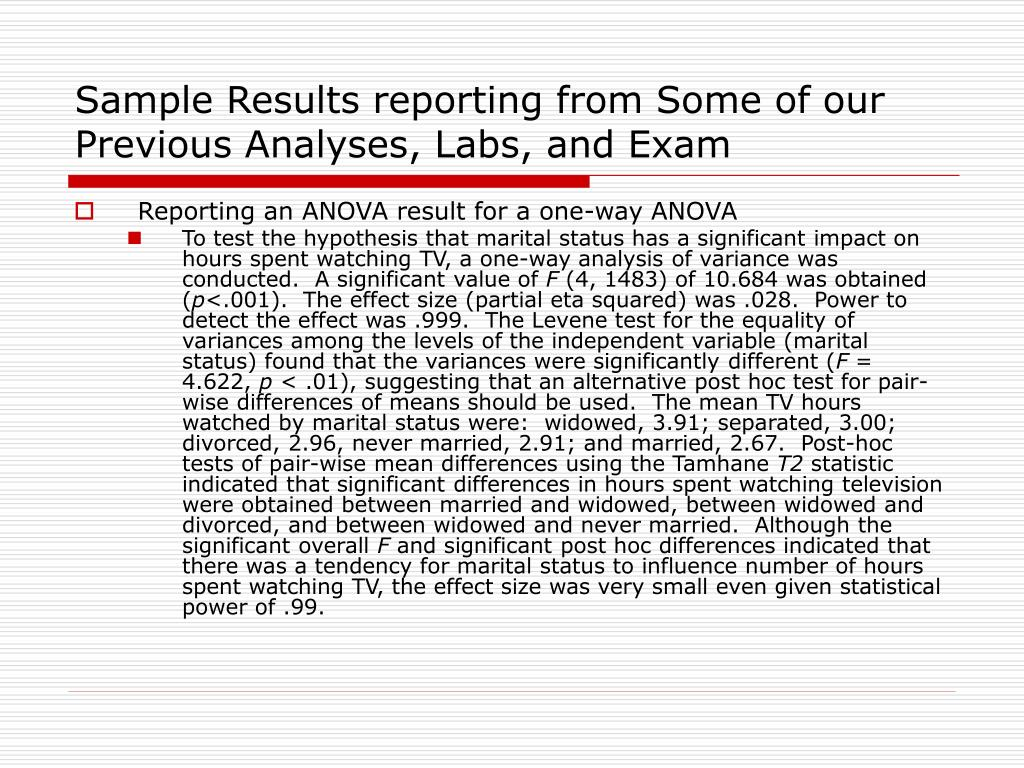 Sample Results reporting from Some of our Previous Analyses, Labs, and Exam