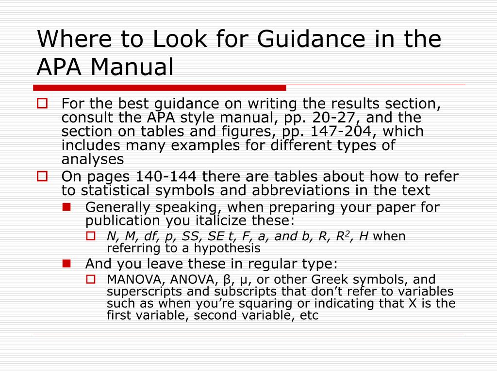 Where to Look for Guidance in the APA Manual