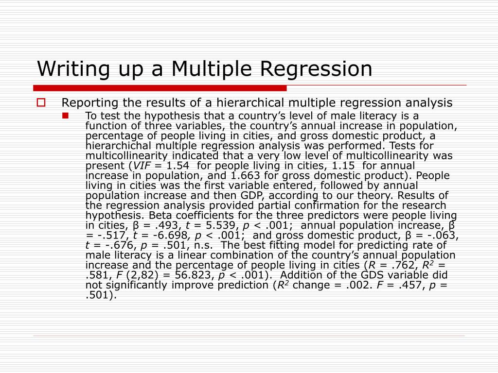 Writing up a Multiple Regression