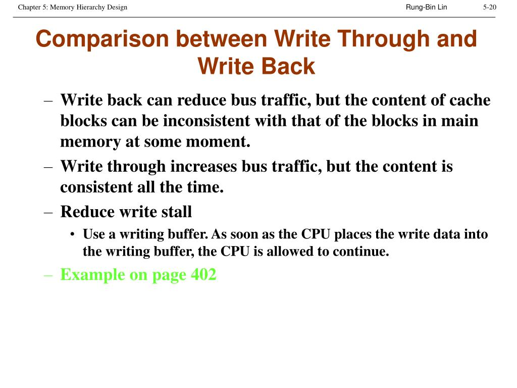 Comparison between Write Through and Write Back