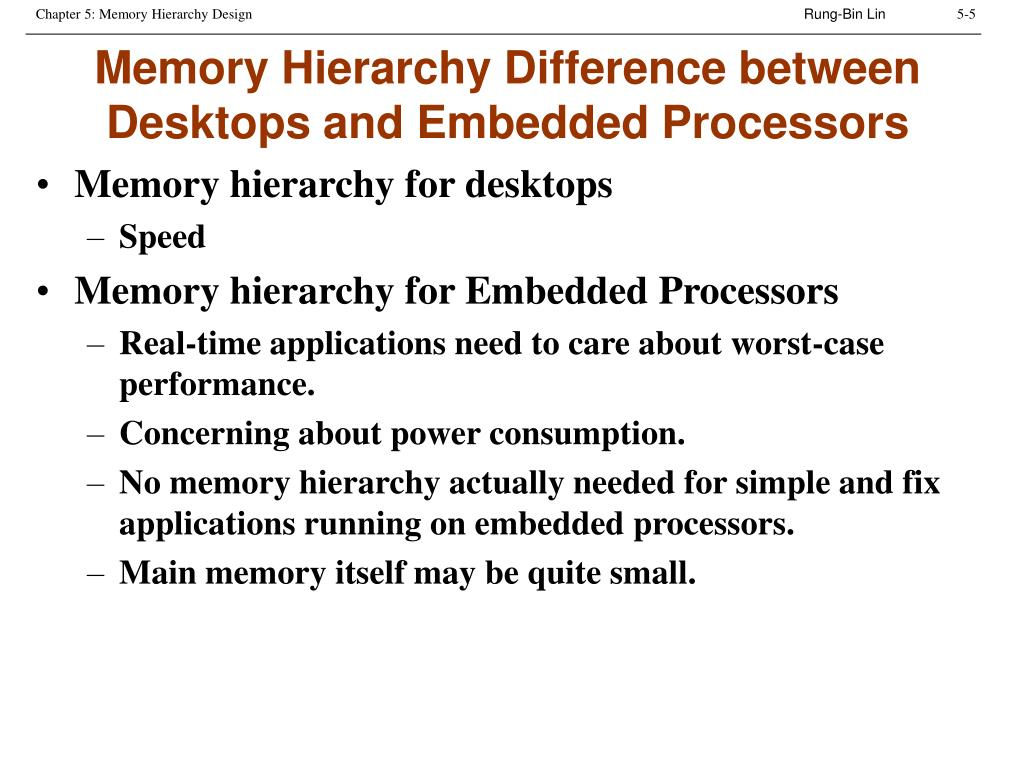Memory Hierarchy Difference between Desktops and Embedded Processors