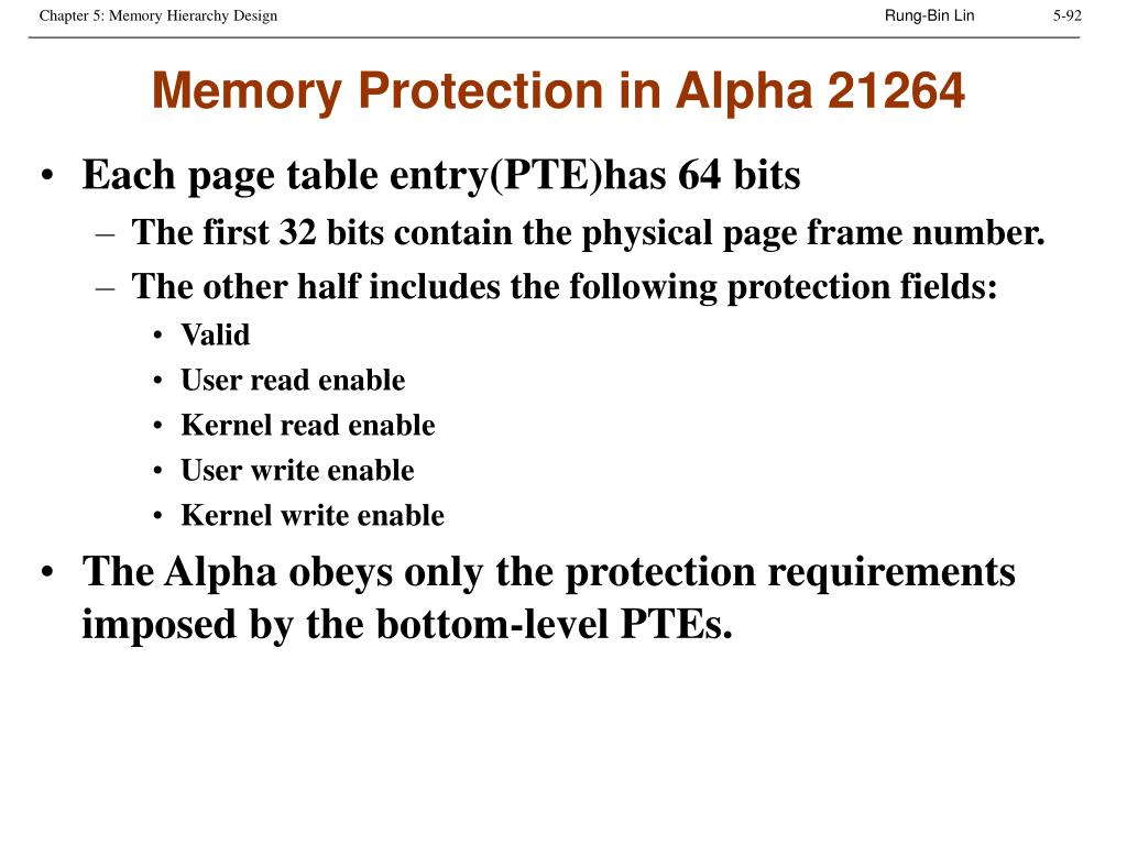 Memory Protection in Alpha 21264