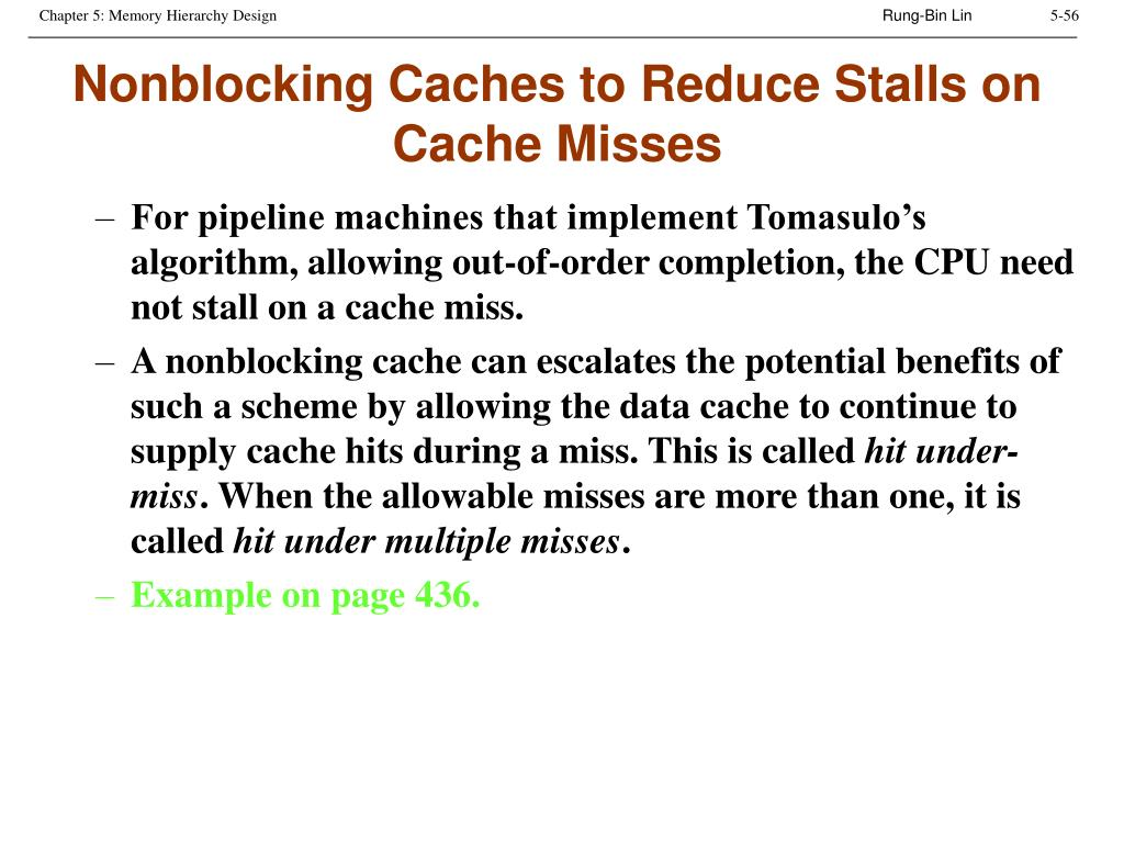Nonblocking Caches to Reduce Stalls on Cache Misses