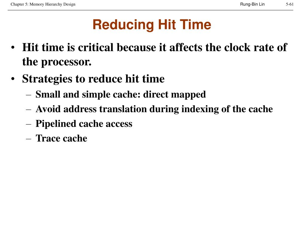 Reducing Hit Time
