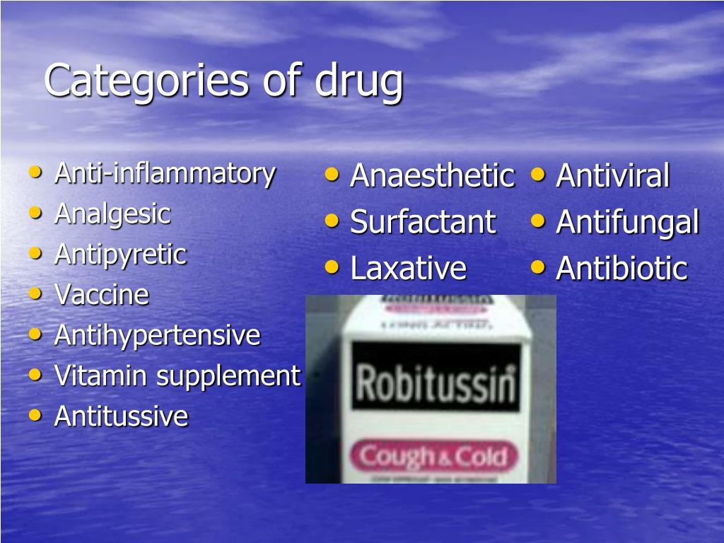 Categories of drug