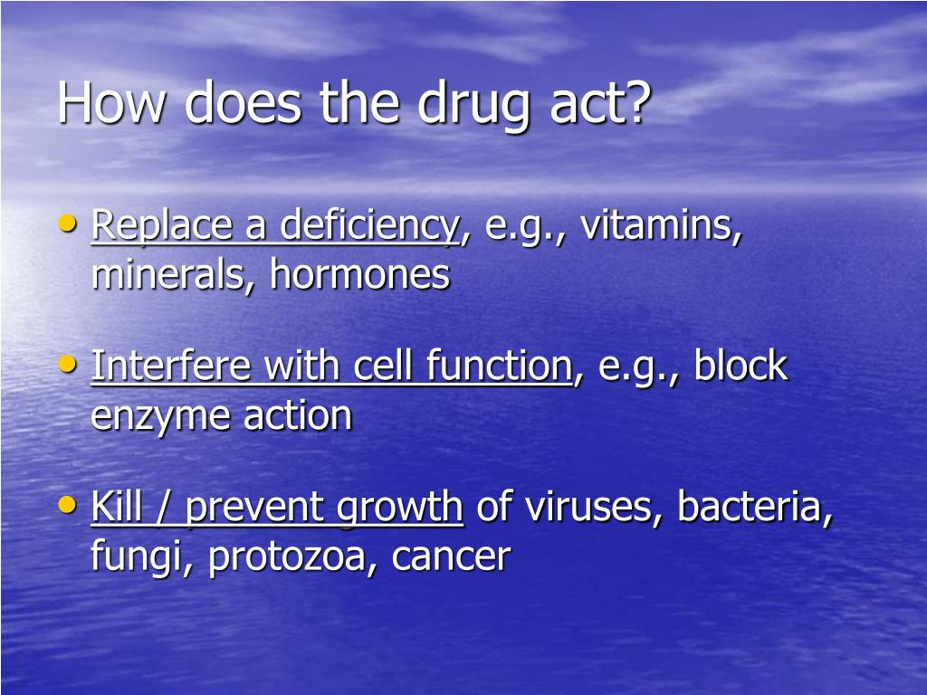 How does the drug act?
