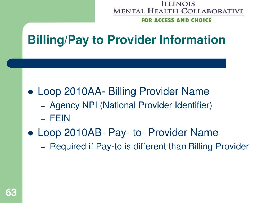 Billing/Pay to Provider Information