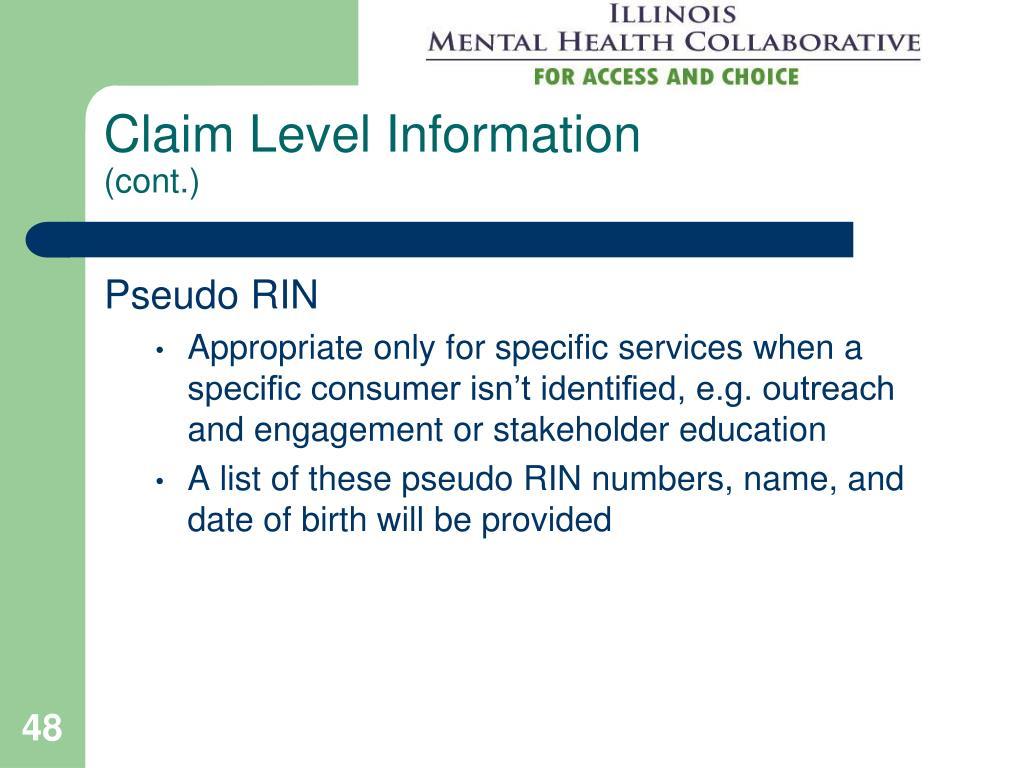 Claim Level Information