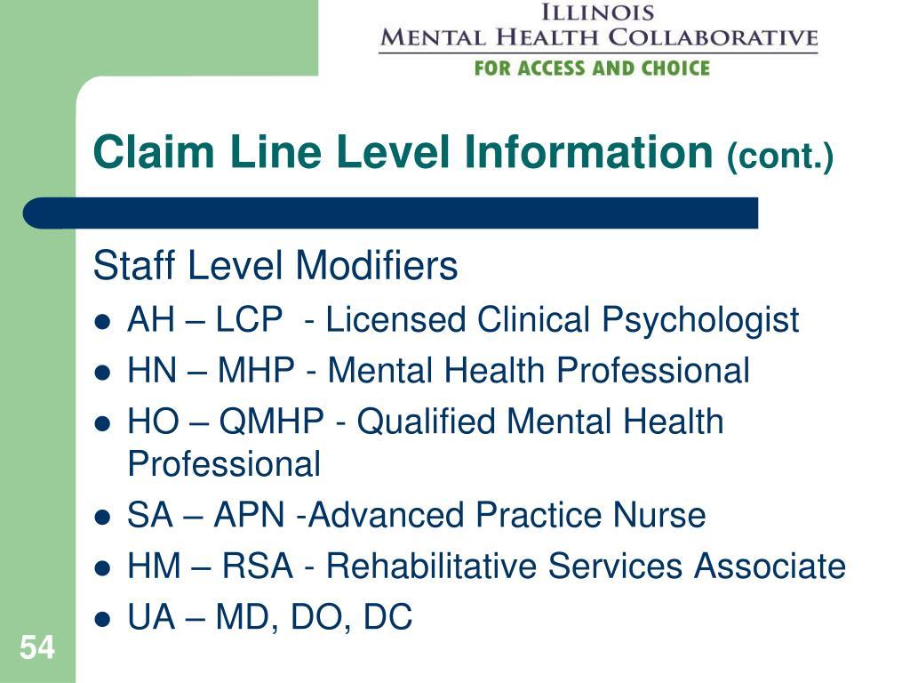 Claim Line Level Information