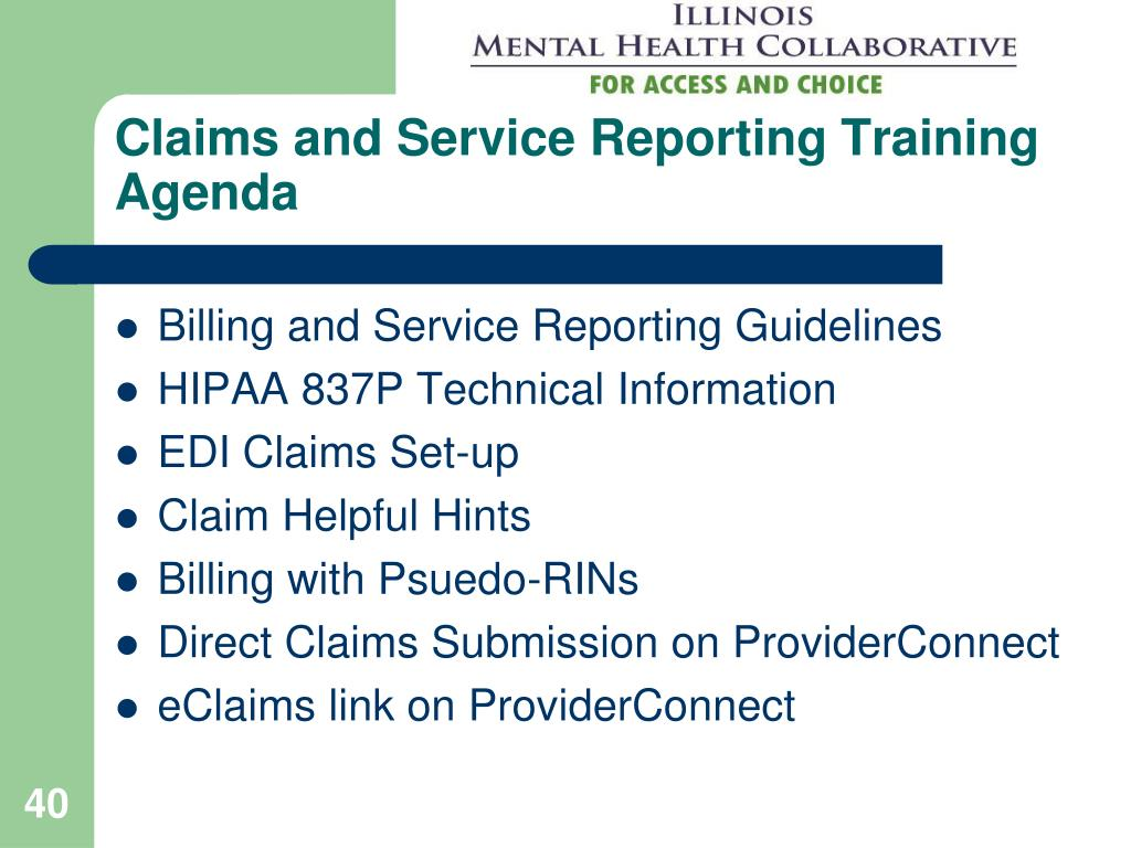 Claims and Service Reporting Training Agenda