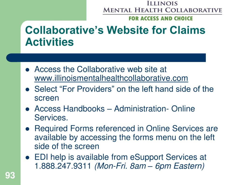 Collaborative's Website for Claims Activities