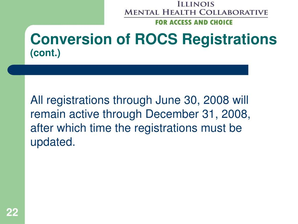 Conversion of ROCS Registrations