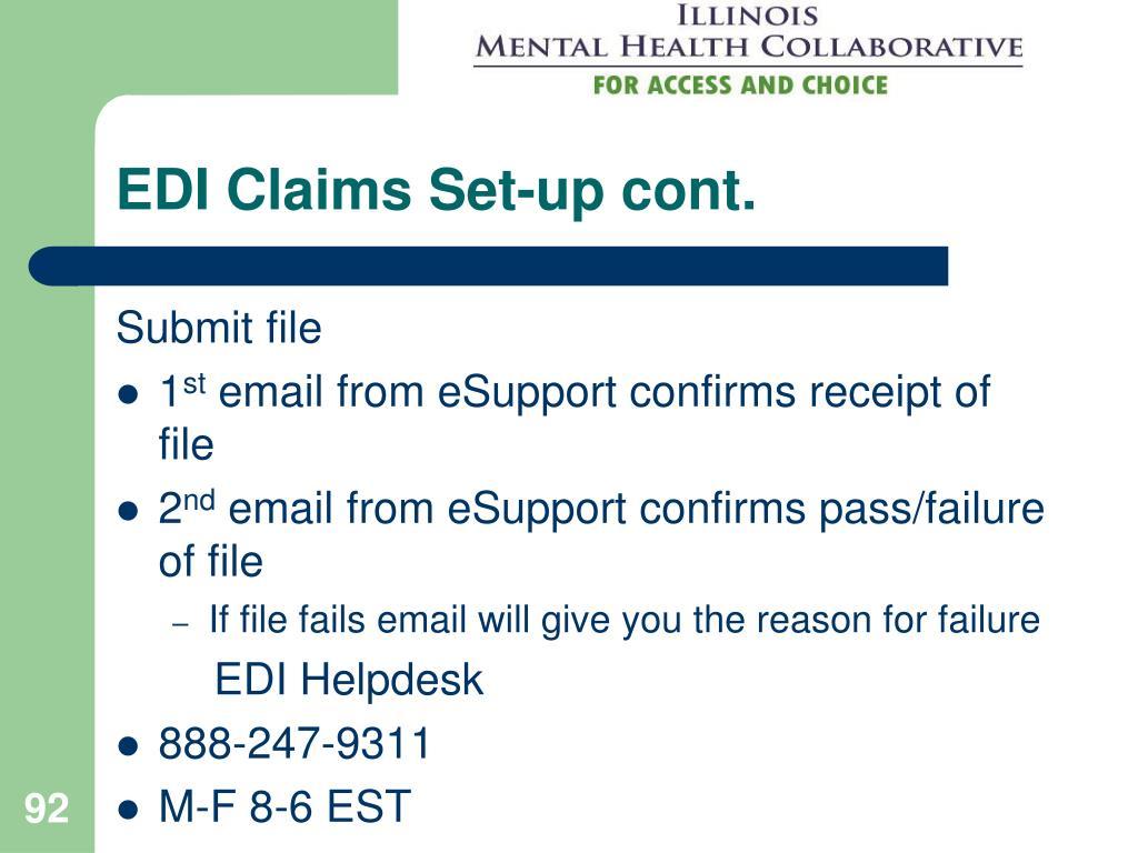EDI Claims Set-up cont.