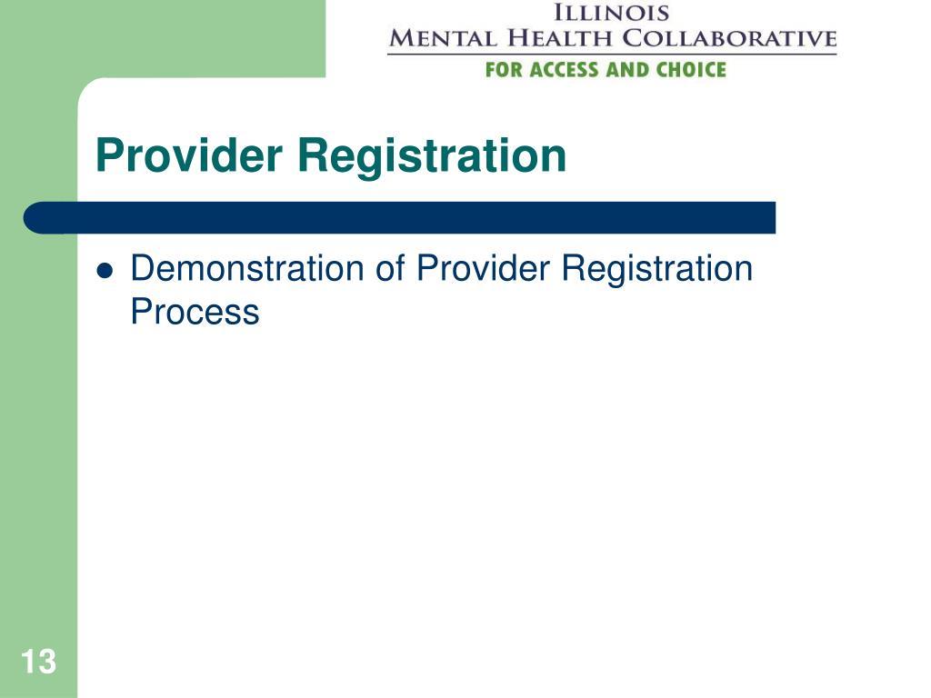 Provider Registration
