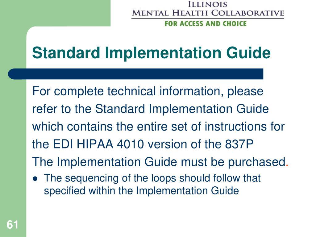Standard Implementation Guide