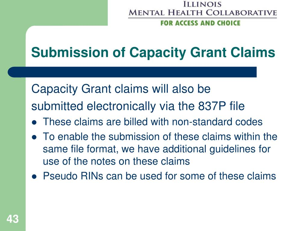 Submission of Capacity Grant Claims