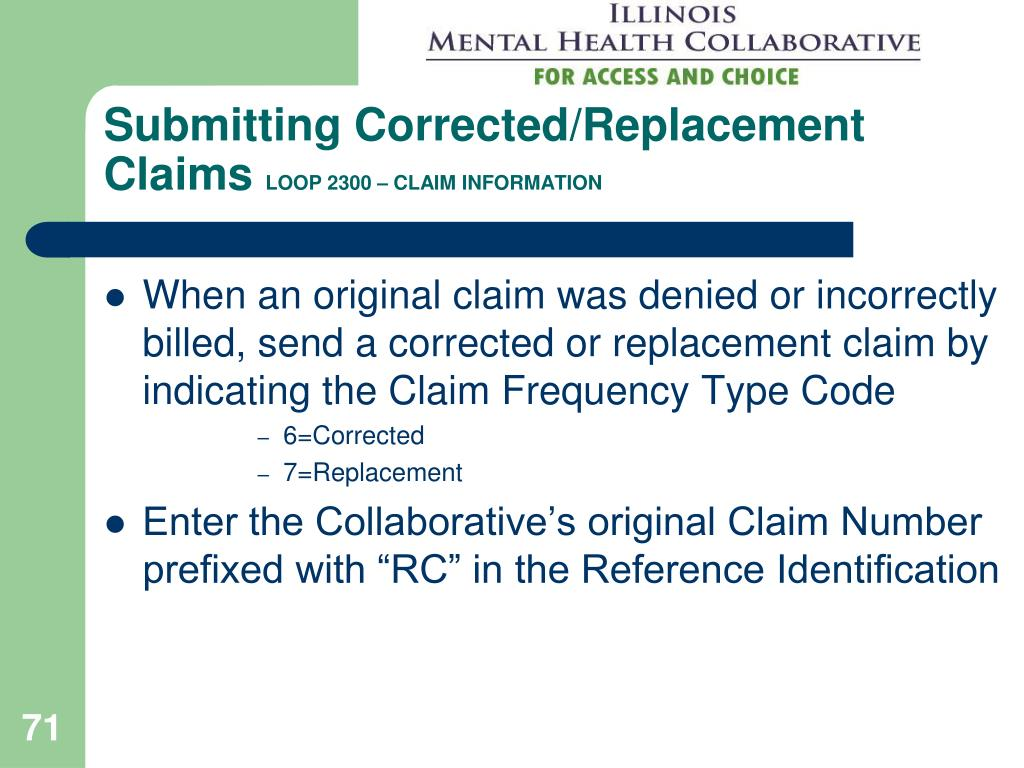 Submitting Corrected/Replacement Claims