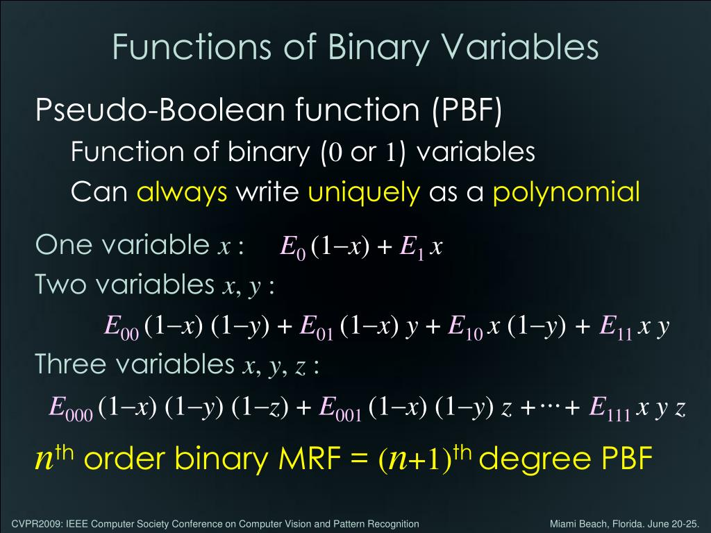 Functions of Binary Variables