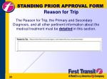 standing prior approval form reason for trip