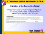 standing prior approval form signature of the requesting person