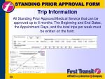 standing prior approval form trip information