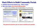 much efforts to build community portals